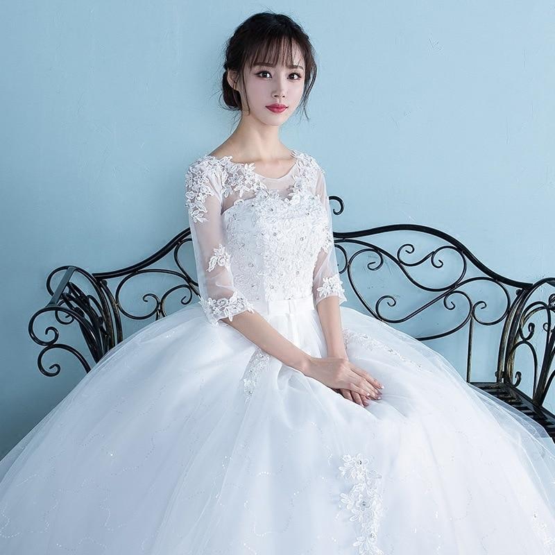 Femmes enceintes robe De mariée 2019 grande taille taille haute une épaule moitié et à manches courtes robe De mariée enceinte Vestidos De Novia