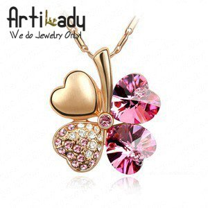 Artilady ECS001431B Crystal Clover Necklace 18K Gold Plated  8colors Swa Crystal  New Arrival Free shipping