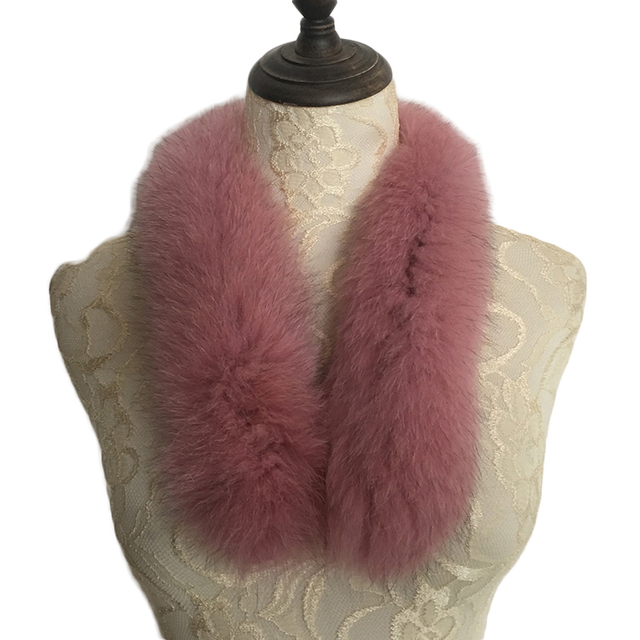 Fur Collar Fox 2017 New Winter Scarf for Russian Casual High Quality Solid Color Pink Collar Natural Fox Fur Collar Women Female