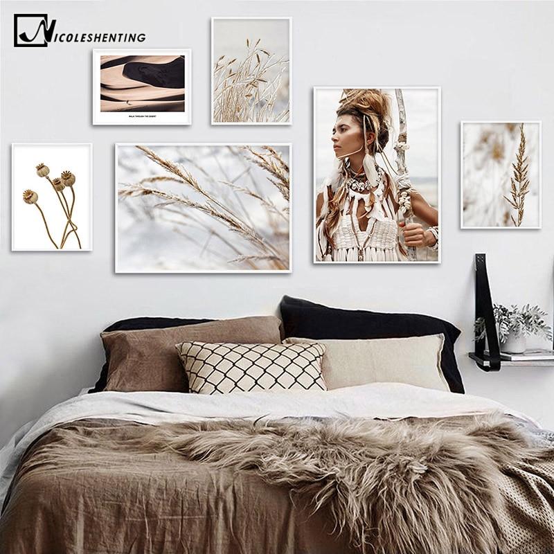 Wild Boho Woman Grass Reeds Poster Nordic Canvas Wall Art Print Nature Landscape Painting Decorative Picture Scandinavian Decor