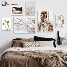 Palhetas de parede femininas, palhetas de grama boho selvagem para mulheres, poster nórdico de parede, impressão da natureza, pintura de paisagem, imagem decorativa, decoração escandinavo