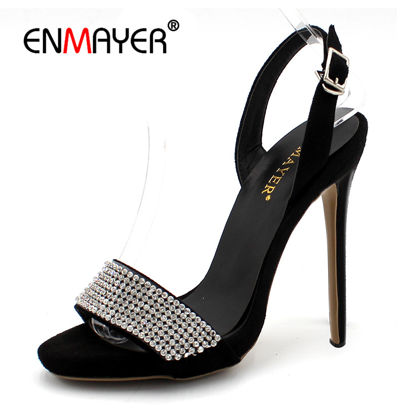 ENMAYER Open Toe Summer Sandals Shoes Woman High Heels Party Wedding Shoes Plus Size 34-43 Crystal Charms Thin Heels Sandals zorssar brand 2017 high quality sexy summer womens sandals peep toe high heels ladies wedding party shoes plus size 34 43