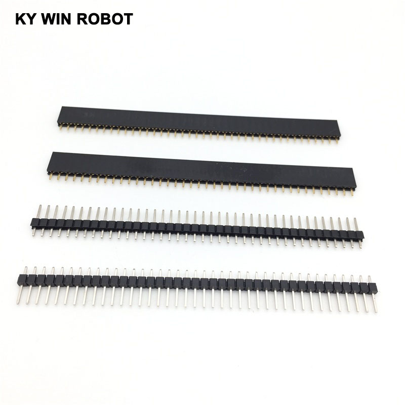 20pcs 10 pairs 40 Pin 1x40 Single Row Male and Female 2.54 Breakable Pin Header Connector Strip for Arduino Black