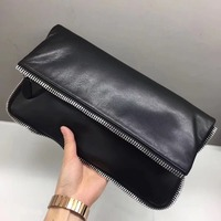 Women Genuine Leather Chain Handbag Simple Small Shoulder Bag Ladies Day Clutches Envelope Fold Over Evening