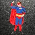 Frete grátis, crianças de alta qualidade muscular superman roupas traje, o dia das bruxas partido cosplay muscular super hero costume, cape