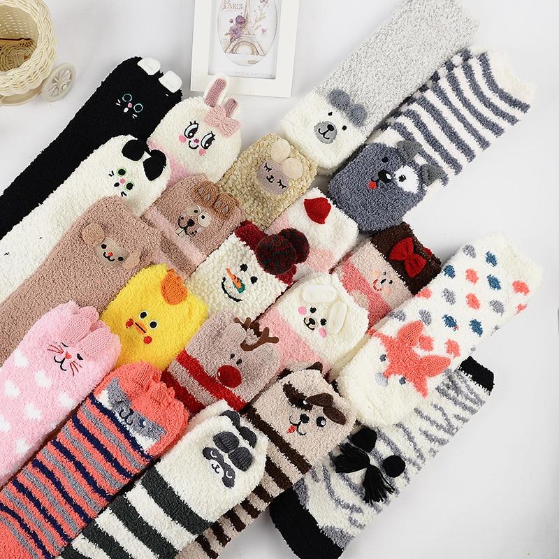 Носки женские хлопковые в стиле Харадзюку, смешные Мультяшные милые пушистые бархатные хлопковые для дома, с кроликом, лисой, медведем, олен...