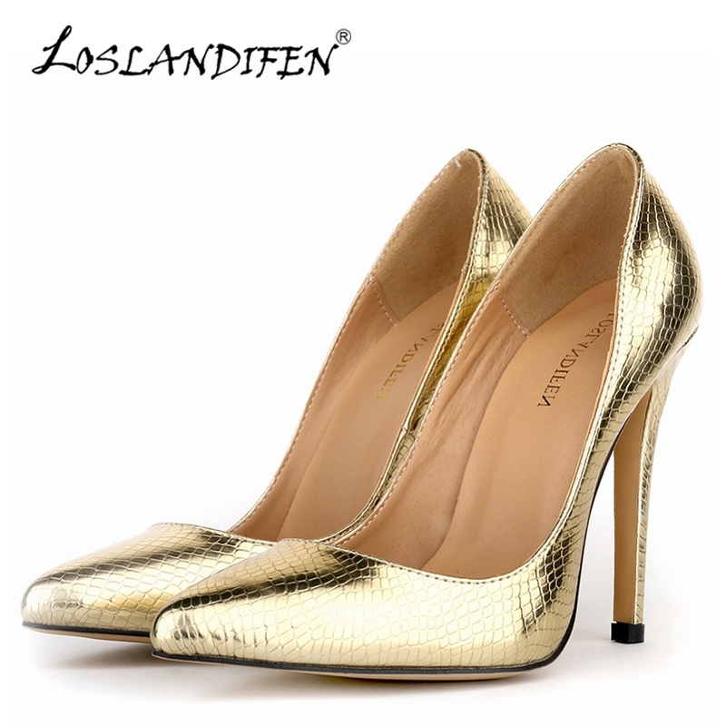 LOSLANDIFEN Sexy Crocodile Pattern Pumps Women Pointed Toe High Heels Shoes New Summer Autumn Design Wedding Party Shoes302-1XEY sexy pointed toe high heels women pumps shoes new spring brand design ladies wedding shoes summer dress pumps size 35 42 302 1pa
