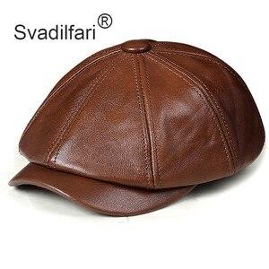 Image 1 - Retro Octagonal Genuine Leather Hat Autumn Mens Cowhide Leather Beret Elegant Fashion Student Tongue Cap Snapback Caps For Men