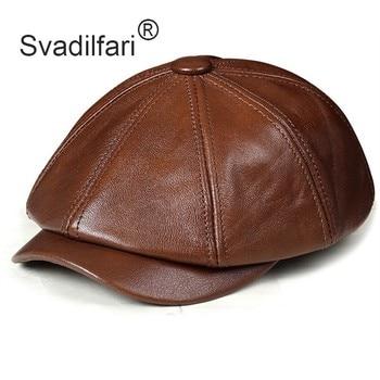 Retro Octagonal Genuine Leather Hat Autumn Men's Cowhide Leather Beret Elegant Fashion Student Tongue Cap Snapback Caps For Men