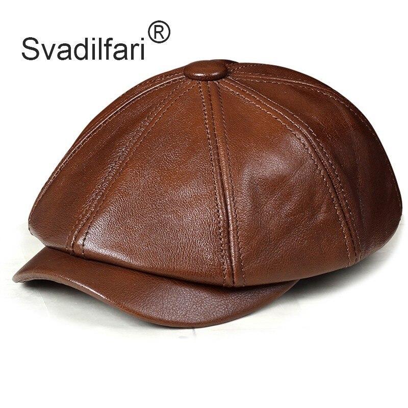 Svadilfari Genuine Leather Hat Autumn Men's Cowhide Leather Beret Elegant Fashion Young Student Tongue Cap Snapback Caps For Men