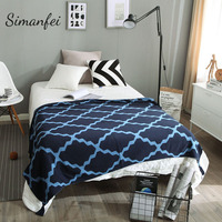 Simanfei Rhombo Blankets 2017 New Arrival Patchwork Cotton Knitted Blanket Super Soft Crochet For Adult Sofa Bed Cobertor Cover