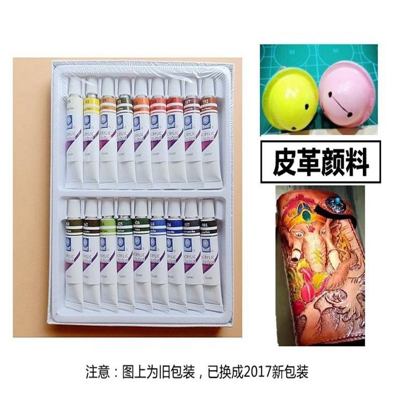цена на 18 colors/ 12 colors set Leather paint acrylic paint Leather carving paint color painting