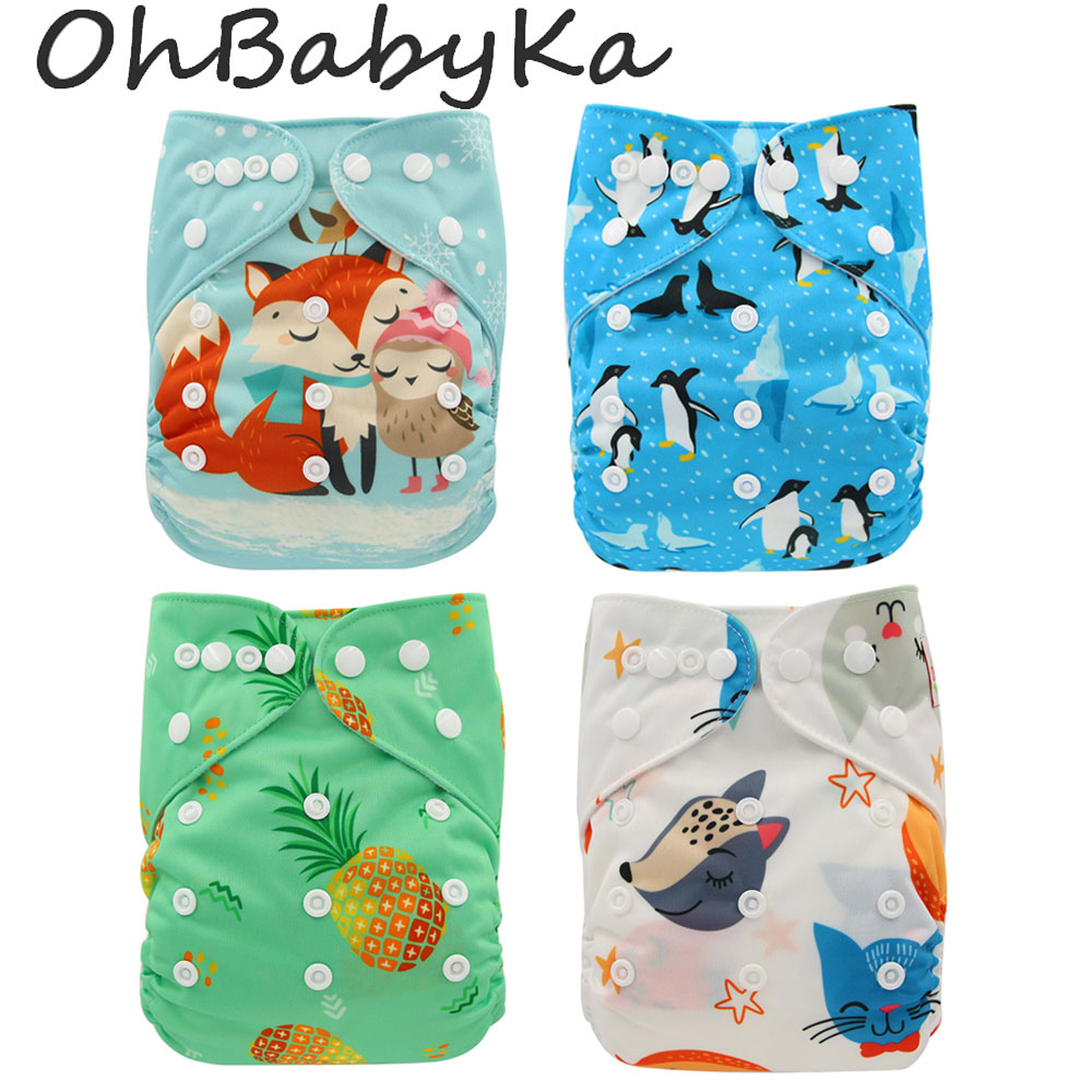 Ohbabyka Washable Diapers Couches Lavables 2019 Nappy Baby Diaper Cover Wrap Baby Nappy Changing Reusable Baby Cloth Diapers in Baby Nappies from Mother Kids
