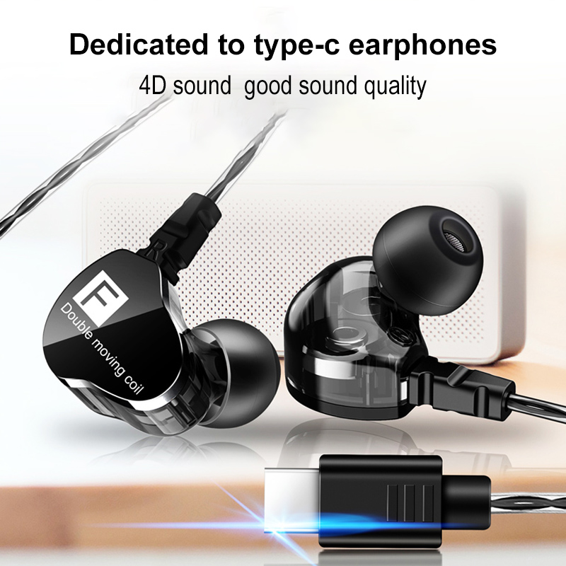 Newest Fenge F4 Double Unit Drive In Ear Earphone Bass Subwoofer HIFI 4D Sound Quality Music Sport Earphone Type C Headset image