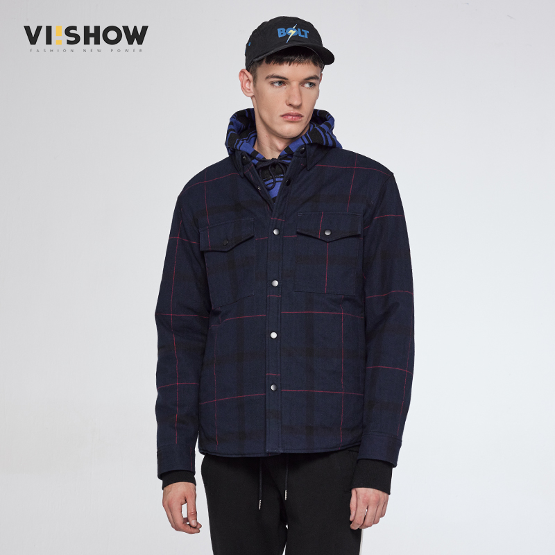 plaid down jacket with pockets VIISHOW Men's Casual Navy Jacket Simple British Style Plaid Pattern New Men Business Brochure Designer Pockets Parkas MC22564