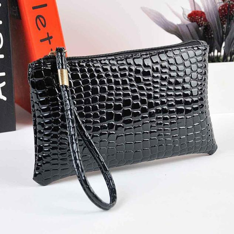 Women Crocodile Leather Clutch Handbag Bag Coin Purse Multi-function Leather Coin Purse Fashion Zipper Wallet