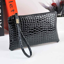 Women Crocodile Leather Clutch Handbag Bag Coin Purse multi-function leather coin purse fashion zipper wallet(China)