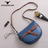 Multicolor Bow Saddle Bag Fashion Leather Handbag Women Japan Style New Design Messenger Summer Cover Small Sling Bags Six Color