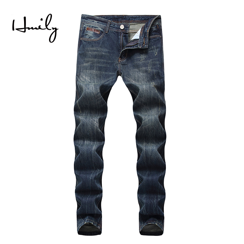 HMILY blue jeans men spring and summer beggars men's casual ripped male Slim Elastic cowboy denim trousers male big plus size