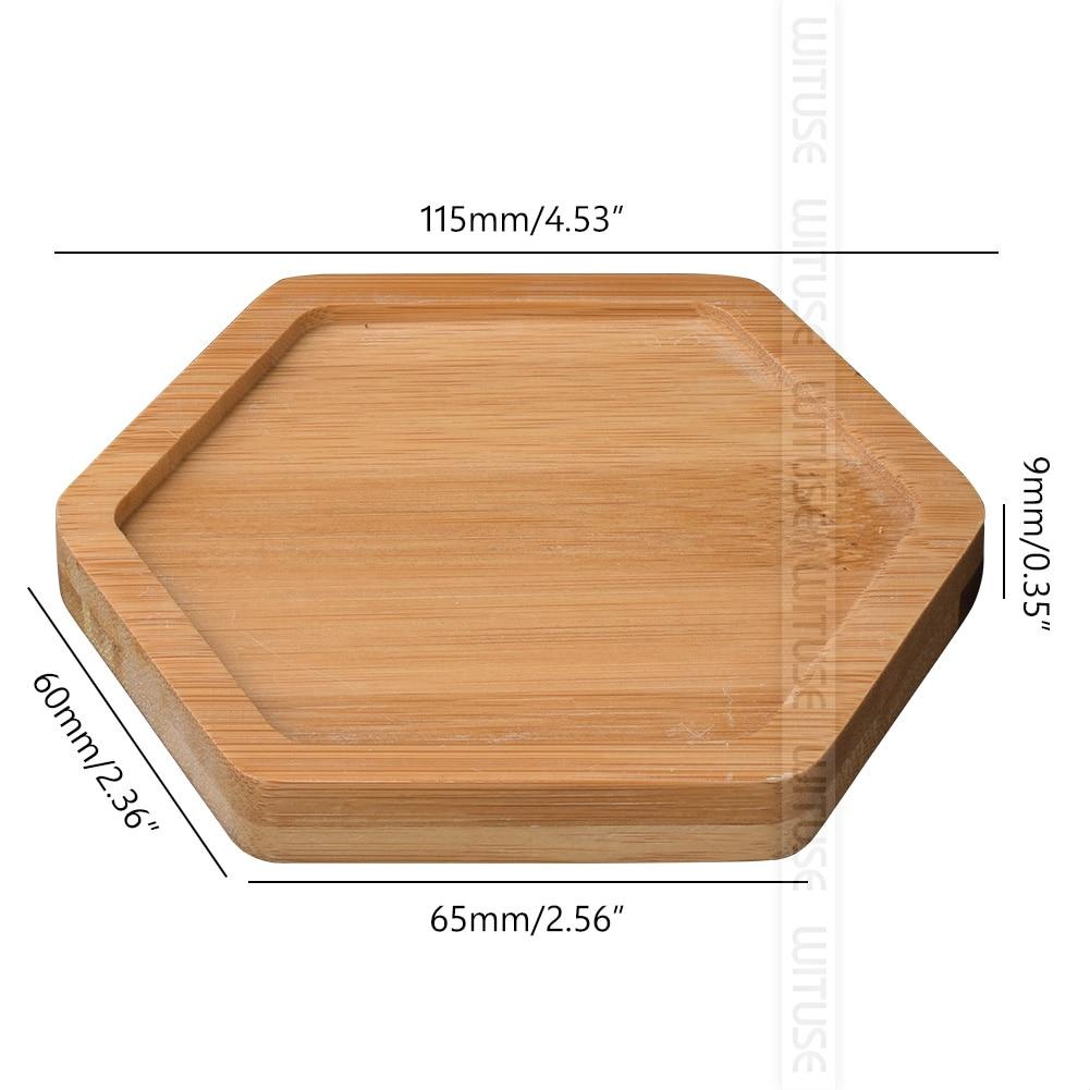 WITUSE бамбуковые круглые квадратные чаши тарелки для суккулентов горшки лотки база стоячий садовый Декор украшение дома ремесла 12 видов - Цвет: hexagon