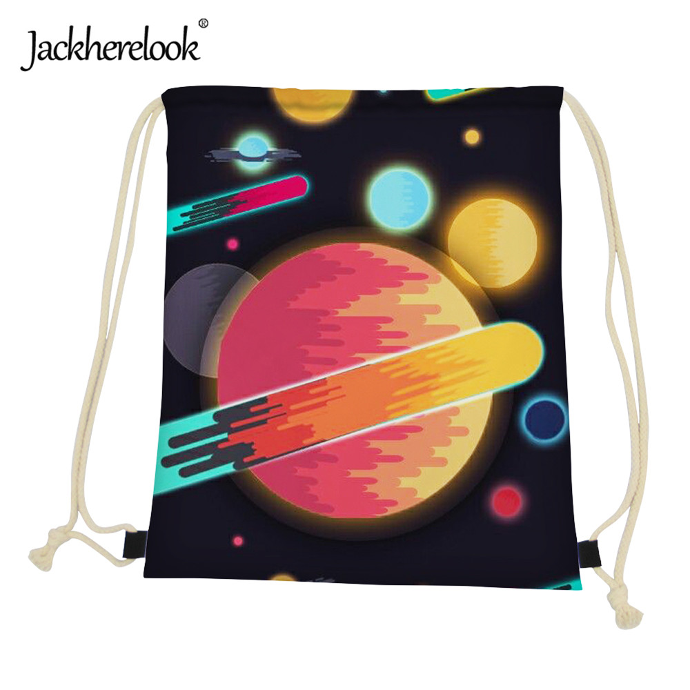 Jackherelook 3D Galaxy Pattern Women Drawstring Bags Small Backpack Casual Universe Space Star Kids Cinch Sack Beach Storage Bag