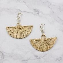 Fan shaped Wicker Rattan Earrings For Women Vintage Bamboo woven Earring Summer Natural Statement Earing grote oorbellen
