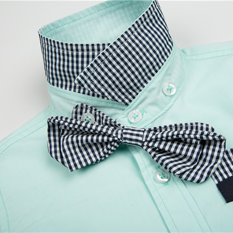 Hot sale Children 39 s shirts Fashion England Style With Plaid bow tie Cotton 100 Full sleeved Kids Boy 39 s shirts clothing in Shirts from Mother amp Kids