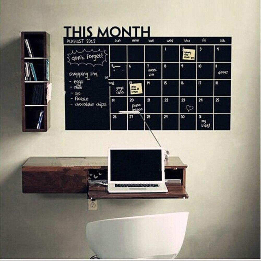 Graffiti wall vinyl - 1pc Calendar Type Chalkboard Blackboard Stickers Removable Graffiti Wall Sticker Erasable Blackboard Home Decor 2077ws