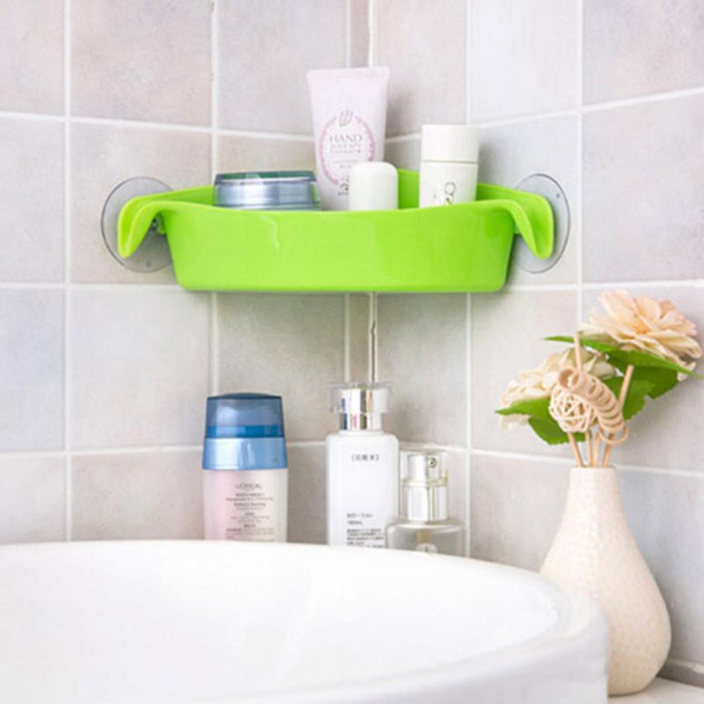 3 Farben Badezimmer Ecke Lagerung Rack Organizer Dusche Wand Regal Mit Saugnapf Hause Ecke Küche Bad Regale Bad Hardware