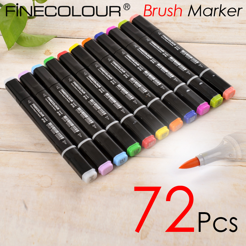 Finecolour 72P Colors Brush Marker Pen Finecolour-Three EF102 commonly used Sketch marker a markers 48 p colors self selection set comby800 marker pen commonly used sketch marker a markers