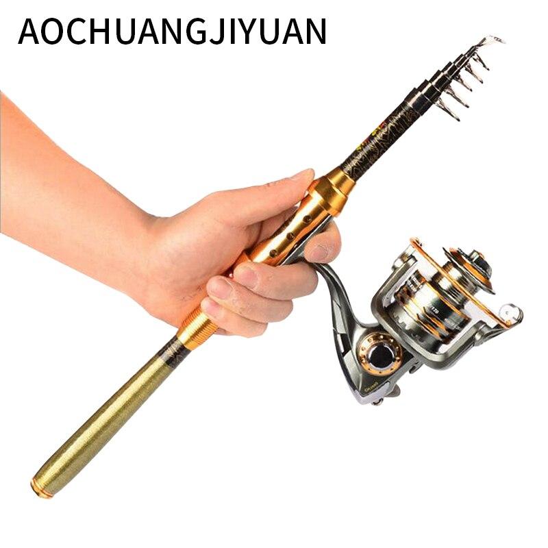 1.8/3m Folding Mini Telescopic Fishing Pole Combo Carbon Telescopic Fishing Rod Reel Lure Fishing Tackle Pesca
