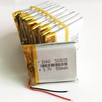 Venta al por mayor 10 piezas 3,7 V 500 mAh 503035 de polímero de litio LiPo batería recargable para Mp3 Mp4 PAD DVD de e-book bluetooth