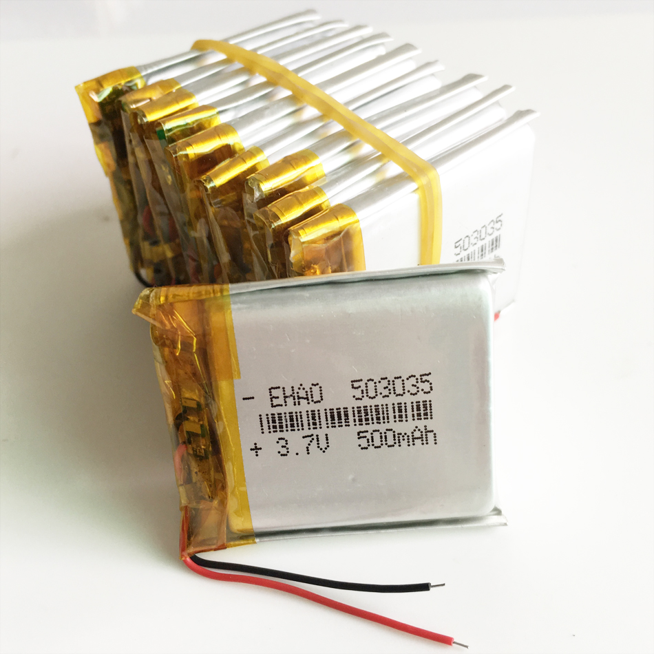 Wholesale 10 pcs <font><b>3.7V</b></font> <font><b>500mAh</b></font> <font><b>503035</b></font> Lithium Polymer LiPo Rechargeable <font><b>Battery</b></font> For Mp3 Mp4 PAD DVD DIY E-book bluetooth image