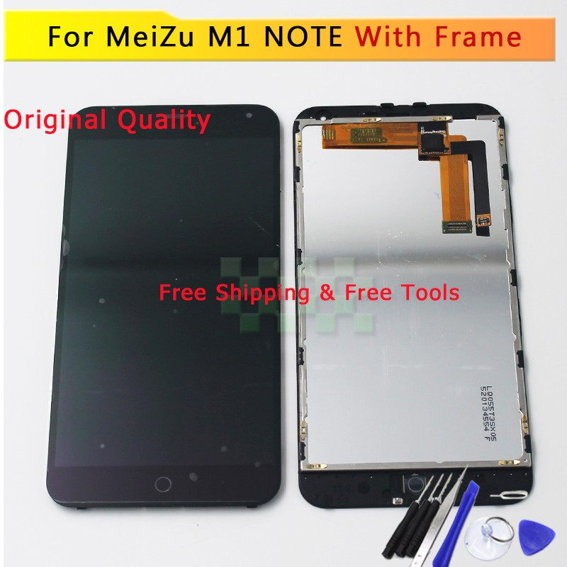 Black AAA+ 5.5 Meizu M1 Note LCD Display + Touch Screen Digitizer Glass Assembly MeiZu M1 Note with Frame Free Shipping