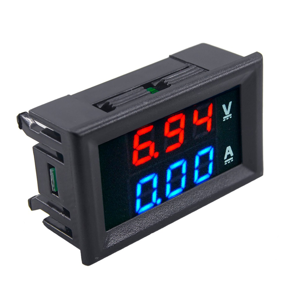 1pcs Professional DC 100V 10A Voltmeter Ammeter Blue + Red LED Amp Dual Digital Volt Meter Gauge Voltage Current Home Use Tool dc 0 100v 10a digital voltmeter ammeter led dual display voltage current indicator monitor detector dc amp volt meter
