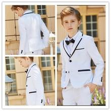Новая модная белая официальная одежда для мальчиков детская одежда с отворотами для мальчиков на свадьбу, день рождения(куртка+ штаны+ бант+ жилет