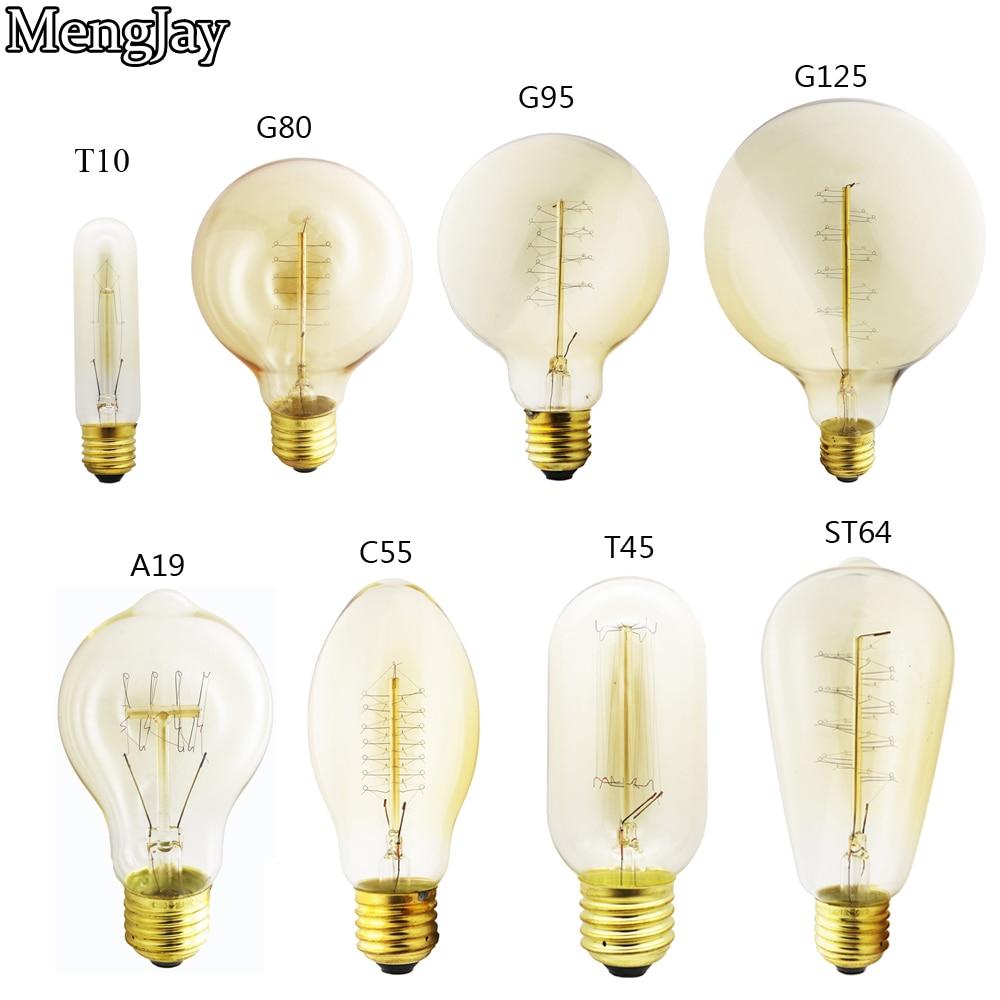 MengJay Edison Bulb E27 40W ST64 A19 T45 G80 G95 G125 Incandescent Filament Bulb Lighting Retro Edison Light Bulb 220V WarmWhite