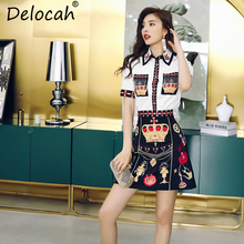 Delocah New 2019 Women Spring Summer Suits Runway Fashion Designer Gorgeous Beading Shirt +Printed Mini Skirt Two Pieces Set