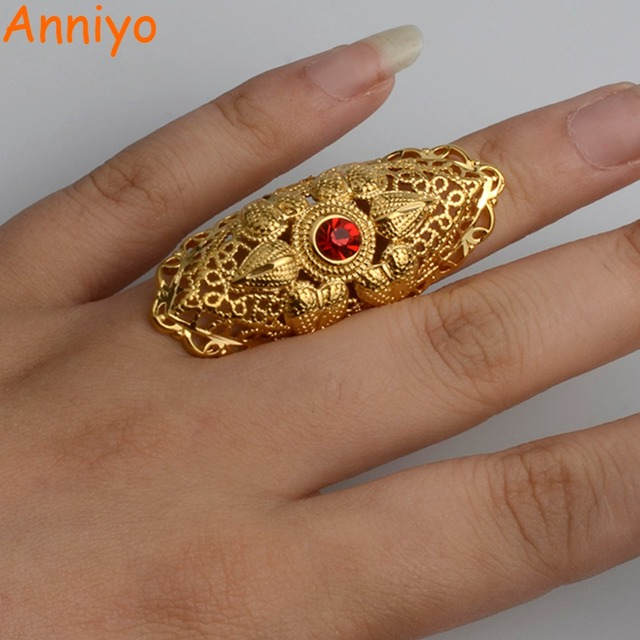 Anniyo Ethiopian Big Ring Gold Color for Women Trendy African
