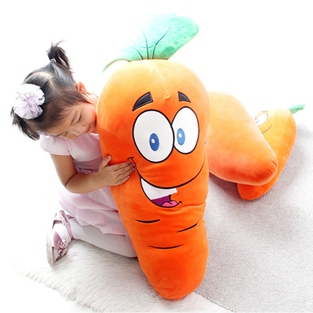 Carrot Pillow Stuffed Plush Toy Filling Ppcotton Soft Radish Doll Party Supplies Gift With Lover Kids Toy Show Props 45cm 18inch