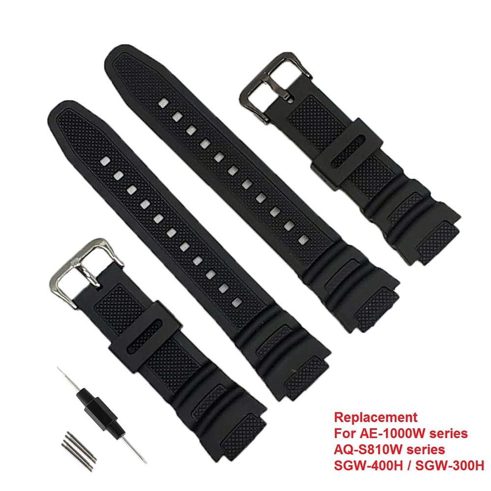 067fd9e540bd3 Correa de repuesto correa de reloj de silicona de goma negra para AQ-S810W  AE-1000w SGW-400H SGW-300H reloj deportivo impermeable