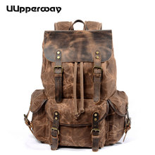 2019 NEW Style Male Canvas Backpack with Leather Cover Drawstring Large Travel Bagpack Waterproof Wax Canvas School Bag for Teen