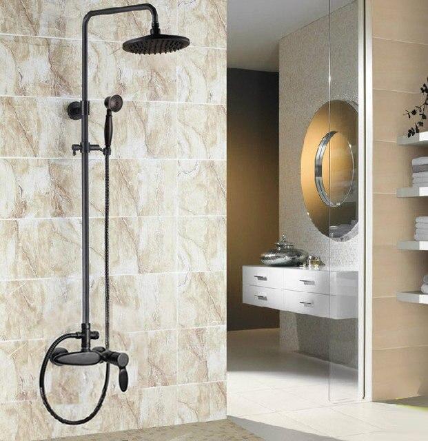 Robinet mitigeur de douche à levier unique | Salle de bains en laiton frotté à lhuile, robinet de douche de pluie rond de 8 pouces ars435