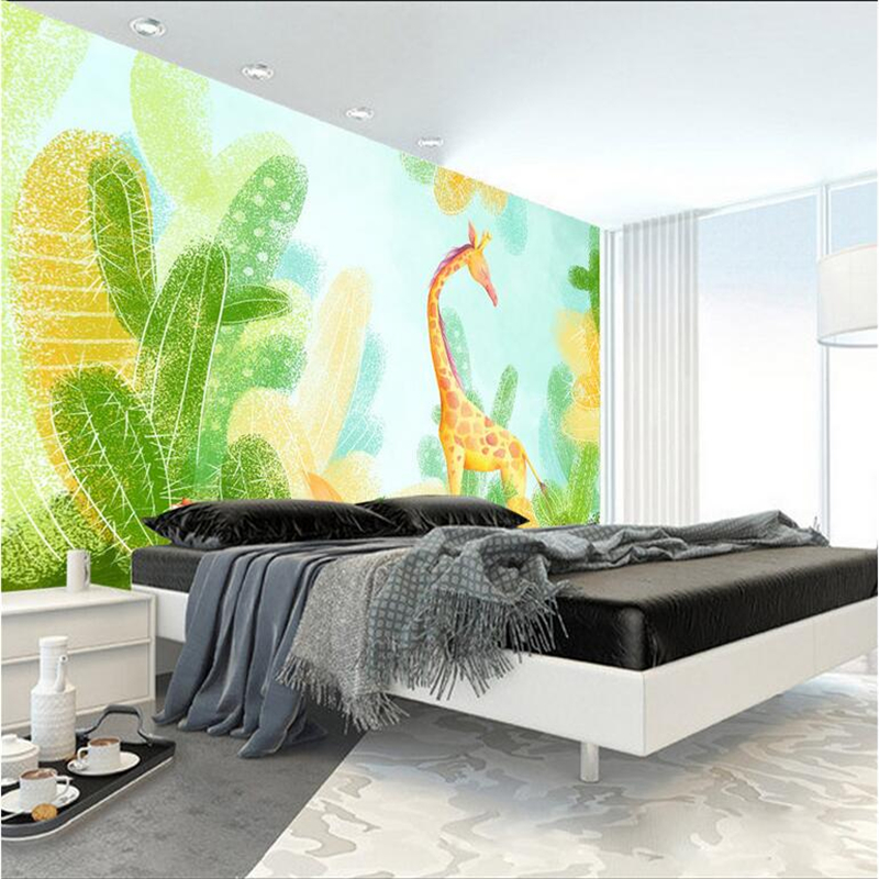 Custom Modern Wallpaper-3d Background Large Fresh Giraffe Watercolor Flowers Wall Papers Home Decor for Living Room RestaurantCustom Modern Wallpaper-3d Background Large Fresh Giraffe Watercolor Flowers Wall Papers Home Decor for Living Room Restaurant