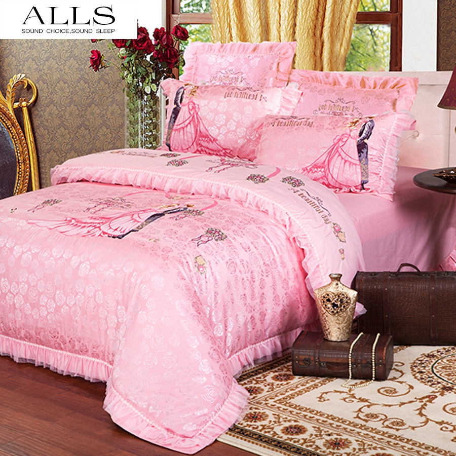 Wedding bed sheet set - Princess Pink Bed Sets Luxury Wedding Bedding Palace Style Lace Dovet Cover Bed Cover