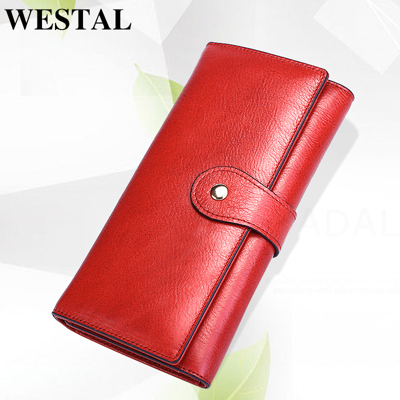 WESTAL Women Wallets Female Genuine Leather Wallet Clutch Hasp Coin Purse Women Long Wallet Credit Card Holder Clamp For Money цена