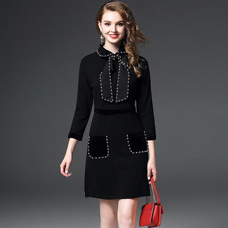 Dress Collar Peter Autumn Pan apricot Women Quarter Luxury Black Christmas 2018 Mini Party Winter Beading Three Ol Sleeve Bow 1pFqt