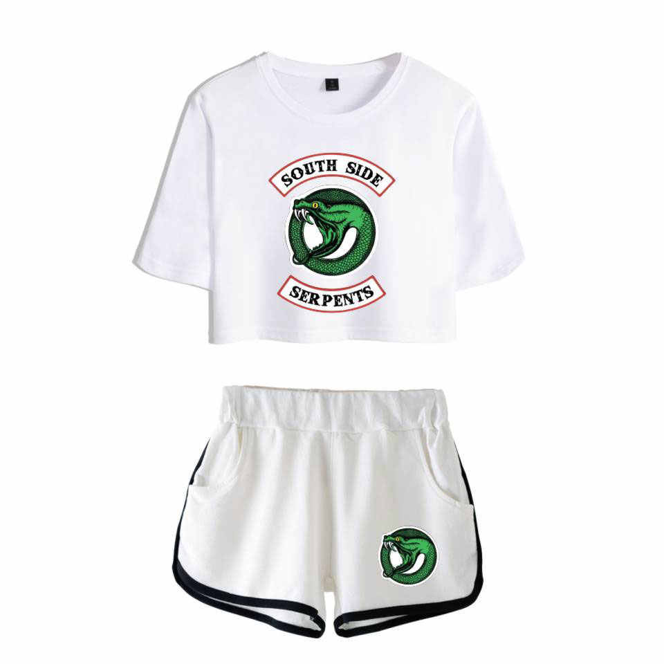 2 Piece Tracksuit Women 2018 kpop Riverdale Southside Serpents Clothes Female Casual Crop Top and Pants Summer Outfits Set