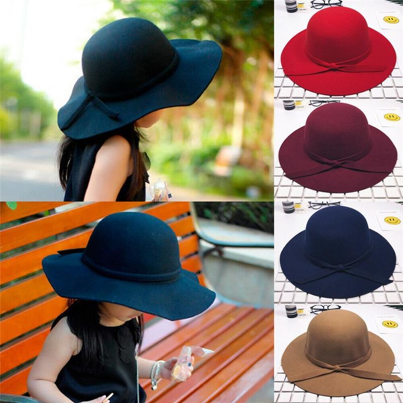 2019 Fashion Girls Wide Brim Sun Hat Vintage Cap Bow Beach Hat Outdoor Sunscreen