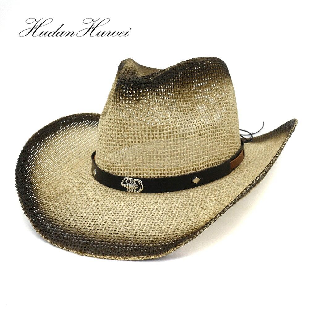 fb23403e Cheap Sombreros de paja de papel de vaquero occidental pintados con  escorpión de Metal decoración de